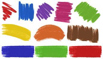 Pinceladas em várias cores vetor