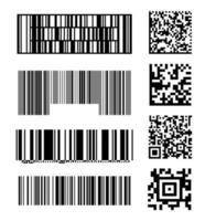 conjunto de modelos abstratos de código de barras de código de barras de scanner vetor