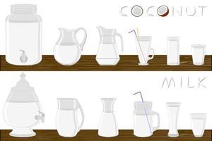 ilustração no tema grande kit de diferentes tipos de vidro vetor