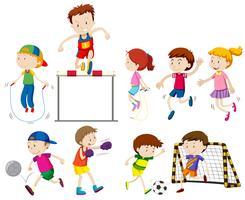 Crianças fazendo diferentes tipos de esportes vetor