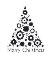 decoração da silhueta da árvore do abeto no feriado para um feliz natal vetor