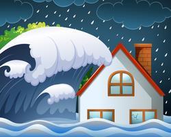 Tsunami batendo na casa vetor