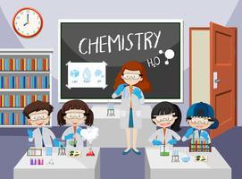 Alunos experimentam na aula de química vetor