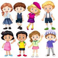 Conjunto de crianças internacionais