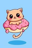 gatinho fofo e engraçado na ilustração de desenho animado animal vetor