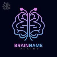 logotipo do cérebro com vetor de design de conceito de borboleta grátis