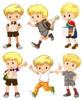Menino, com, cabelo loiro, em, diferente, ações vetor