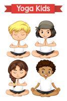 Jogo, de, ioga, crianças vetor
