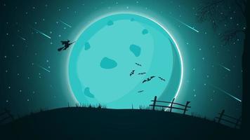 fundo de dia das bruxas, paisagem noturna com grande lua cheia, céu estrelado com bela silhueta das estrelas e bruxa voando sobre a colina. vetor