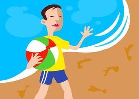 praia menino de férias praia vetor