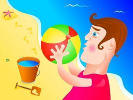 menino de férias praia à beira-mar vetor
