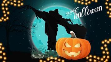 feliz dia das bruxas, cartão postal de saudação horizontal com paisagem noturna, espantalho e jack abóbora contra a lua vetor