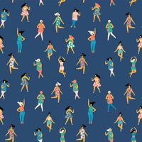 Ilustração do vetor de mulheres da dança Padrão sem emenda