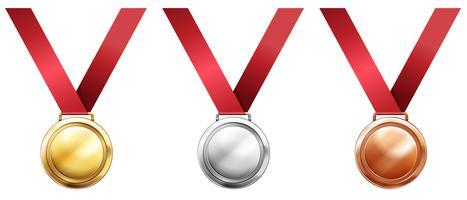 Medalhas de esporte com fitas vermelhas vetor