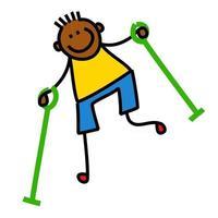 menino ferido andando com muletas vetor