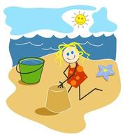 menina da praia construindo castelos de areia vetor