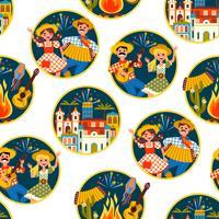 Feriado da América Latina, a festa junina do Brasil. Padrão sem emenda vetor