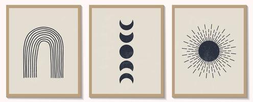 conjunto moderno e contemporâneo de composição geométrica minimalista monocromática abstrata vetor