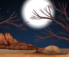 Cena da natureza com terra seca à noite