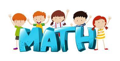 Design de fonte para palavra matemática com meninos e meninas vetor