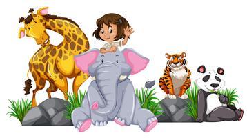 Garota do Safari com animais selvagens vetor