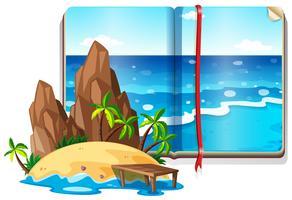 Cena com oceano e ilha vetor