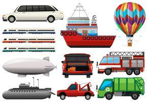 Diferentes tipos de transportes vetor