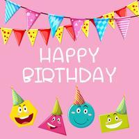 Modelo de cartão de feliz aniversário com formas diferentes vetor