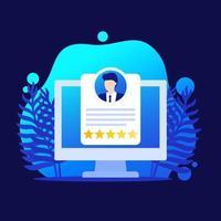 revisão de funcionários, ícone de vetor de software de gestão e RH