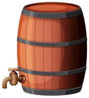 Um barril de vinho no fundo branco vetor