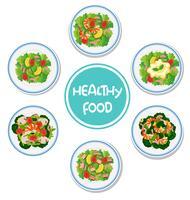 Conjunto de salada saudável vetor