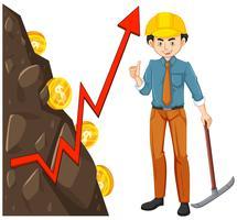 Trabalhador com mineração de moeda
