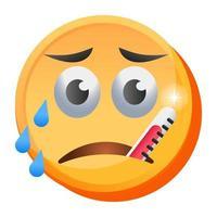 emoji de expressão de febre vetor