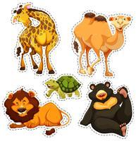 Adesivo, jogo, com, selvagem, animais vetor