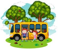 Um ônibus escolar e estudantes vetor