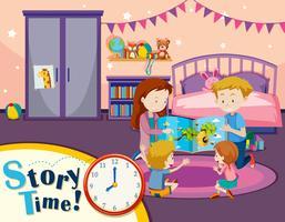 Leitura de família de tempo de história vetor