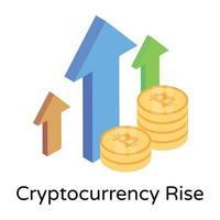 aumento da criptomoeda bitcoin vetor