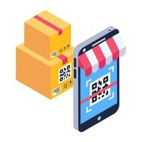 aplicativo de compras ler código de barras vetor