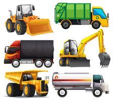 Diferentes tipos de caminhões vetor