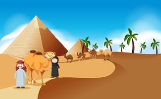 Cena do deserto com pirâmides e camelos vetor