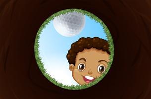 Um, menino, olhando dentro, a, buraco golfe vetor