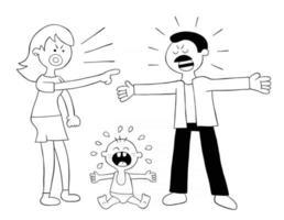 pais de desenho animado lutando e bebê chorando, ilustração vetorial vetor