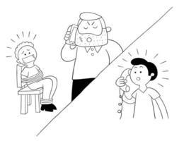 homem dos desenhos animados refém e pedido de resgate por telefone vetor