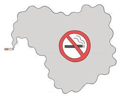 desenho animado fumando cigarro em um local proibido, ilustração vetorial vetor