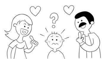 mamãe e papai de desenho animado perguntam ao filho de qual ele gosta mais vetor