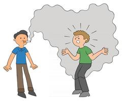 homem viciado em desenho fuma e outro homem se irrita com a fumaça vetor