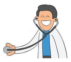 cartoon médico ou veterinário examinando com estetoscópio vetor