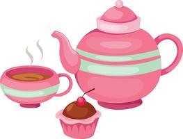 ilustração de conjunto de bule de chá isolado vetor