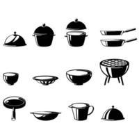 ilustração de conjunto isolado de utensílios de cozinha vetor