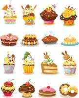 ilustração de vetor de cupcake de conjunto isolado
